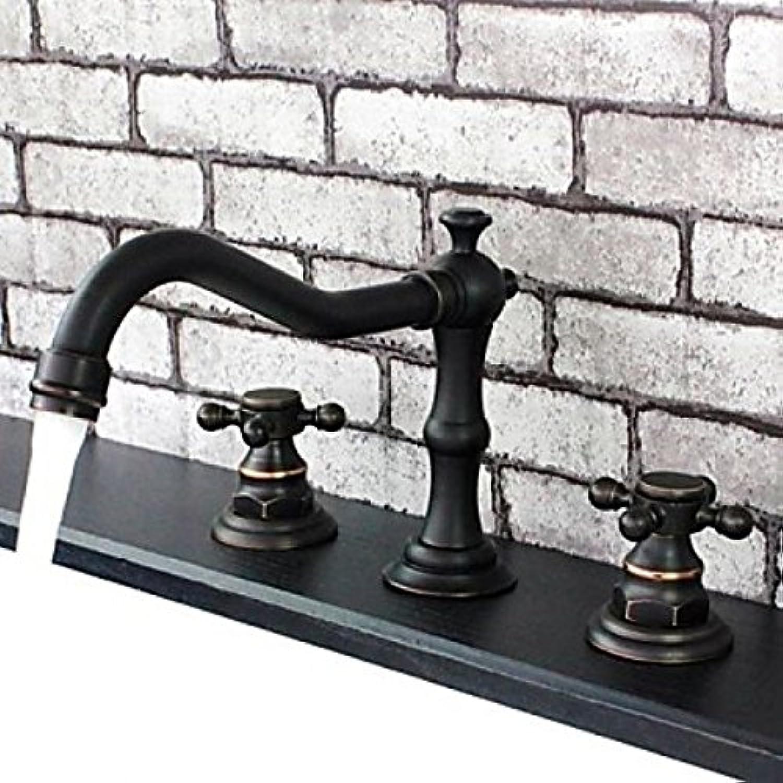 Robinet d'évier redatif style vintage avec mitigeur, robinet finition en bronze huilé muni de deux poignées