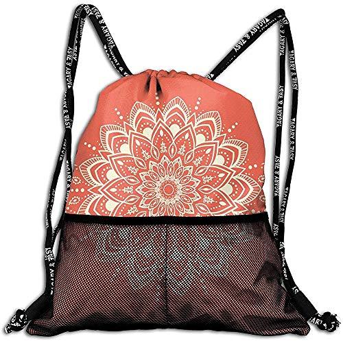 Bolsas De Cuerdas,Mochilas con Cordón Bolsas,Mandala Redonda Caleidoscópica Antigua Diseño Árabe Símbolo De Yoga Meditación Cosmos,Ajustable