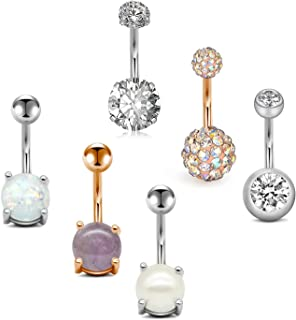 Belly Button Rings Surgical Steel Belly Rings Opal Pearl Diamond Stainless Steel Navel..