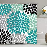 Dahlia Pinnata Floral Shower Curtain, Antique Colorful Blue Teal Black Grey Flower Bathroom Curtain, Waterproof Fabric Shower Curtain for Bathroom Decoration
