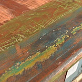 SHENGFENG–Cómoda con 4cajones Armario auxiliar Vintage reciclado Aparador madera maciza 65x 30x 70cm