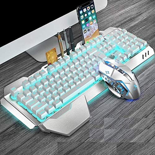 Wireless Gaming Keyboard and Mouse Combo, Rainbow Backlit Rechargeable Keyboard Mouse with 3800mAh Battery, Metal Panel Mechanical Feel Keyboard with Removable Hand Rest (White)