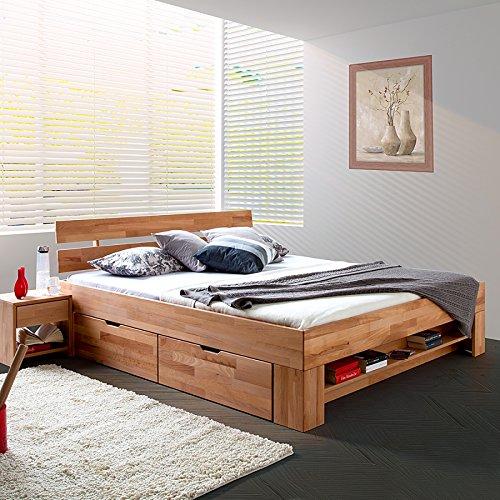 Elfo Bett Futonbett Kernbuche-massiv geölt 180 x 200 cm inkl. 4 Bettkasten auf Rollen und Fußteilregal Sofie