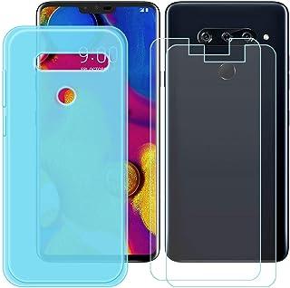 YZKJ Fodral för LG V40 ThinQ Cover blå silikon skyddande skal TPU skal skal skal skal + 2 stycken pansarglas skärmskydd fö...