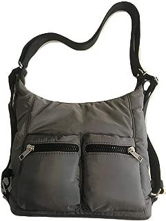 Hobo Crossbody Handbag with Adjustable Strap - Grey-4987
