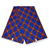 Julius Holland Wachstuch, afrikanischer Stoff, Blau/Orange,