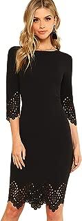 SOLY HUX Damen Figurbetont Kleid 3/4 Ärml Ballonkleid Sommerkleid Party Kleider mit Muscheln Cut Outs