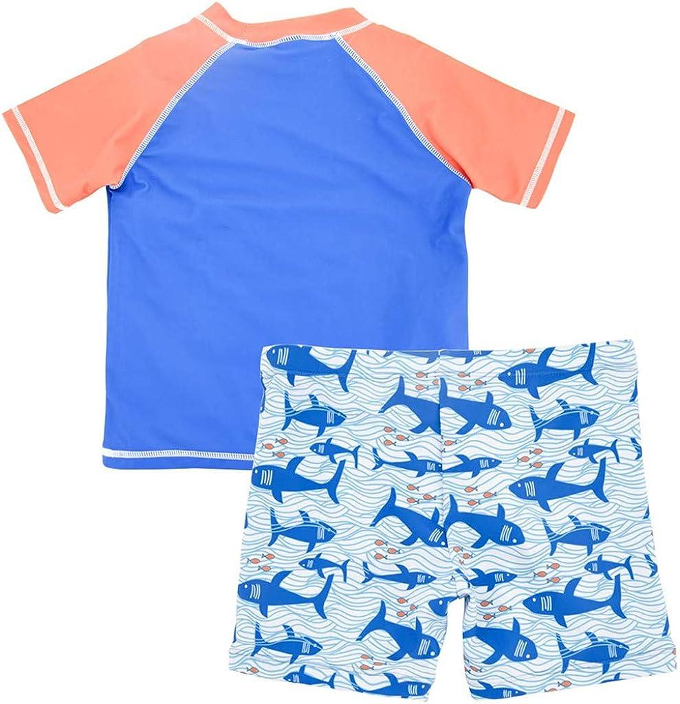 Boys 2-Piece Swimsuit Trunk and Rashguard Set UPF 50 UV Sun Protective Swimwear for Toddler Kids 2-8 Years