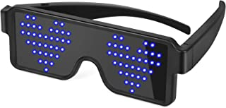 Liplasting LED Glasses Light USB Rechargeable 12 Patterns with Flashing LED Display, Unisex Glowing Multicolor Bright Gift...