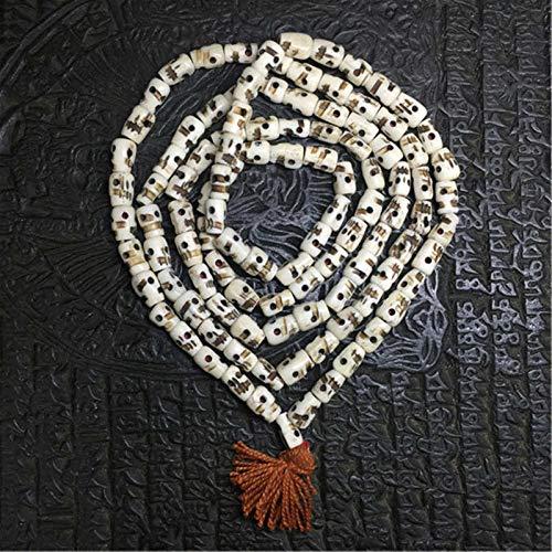 Tibetan 108 White Yak Knochen Schädel Rosenkranz Handgeschnitzte Gebetsperlen Malas Für Mann Schädel Kopf Totem