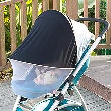 ASEOK Universal Verstellbar 2-in-1 Baby Buggy Sonnenschutz Moskitonetz Markise wasserdicht und winddicht Anti-UV Regenschirm Baldachin Universal passend für Kinderwagen weiß Weiß