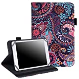 7' - 8' Inch Tablet Case - Universal Folio Cover Protective Stand for Touchscreen Tablets Including Ipad Min and many more (Purple Paisley)