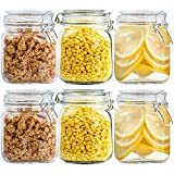 Set of 6 Square Glass Jars, 25oz Glass Storage Canisters Jars, Clear Food Storage Jars With Leak Proof Hermetic Seal