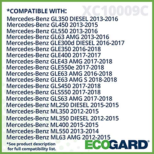 GLS550 GL63 AMG ML63 AMG GL550 GL450 ML400 ML550 ECOGARD XC10009C Cabin Air Filter with Activated Carbon Odor Eliminator GLE350 GLS450 GL350 Premium Replacement Fits Mercedes-Benz ML350