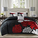 Comfort Spaces Enya Comforter Set-Modern Floral Design All Season Down Alternative Bedding, Matching Shams, Bedskirt, Decorative Pillows, Queen(90'x90'), Red/Black