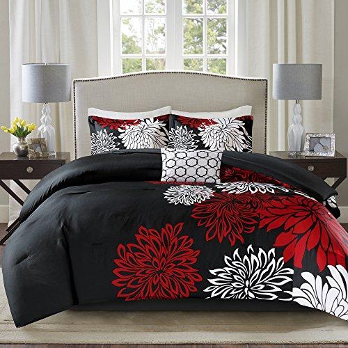 "Comfort Spaces Enya Comforter Set-Modern Floral Design All Season Down Alternative Bedding, Matching Shams, Bedskirt, Decorative Pillows, Queen(90""x90""), Red/Black"