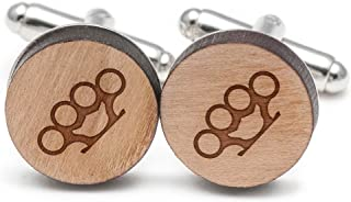 Brass Knuckle Cufflinks, Wood Cufflinks Hand Made in The USA