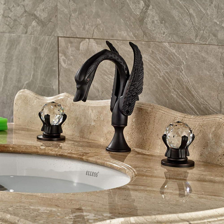 Gorheh Deck Montieren Zwei Kristallgriffe Schwanbecken Wasserhahn Waschbecken Mischbatterie Geschwrzte Bronze 3 Lcher