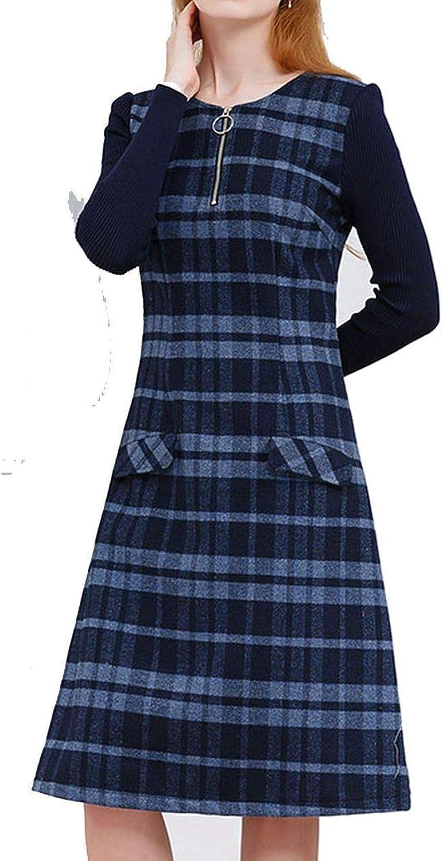 Dress for Women Knit Long Sleeve Mosaic Elegant Aline Stripe