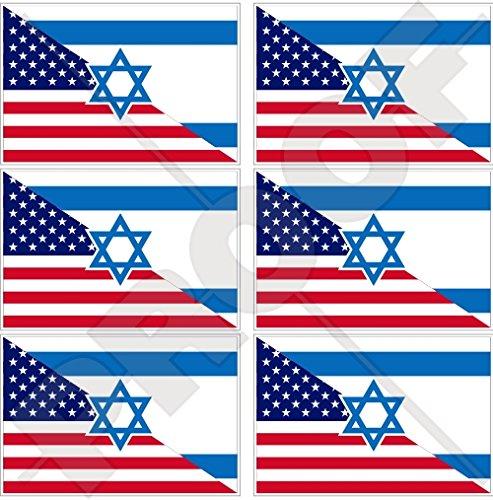 Lot de 6 mini autocollants en vinyle pour téléphone portable Motif drapeau américain et israélien 40 mm