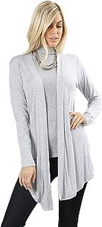 Women Draped Flowy Lightweight Jersey Casual Layering midi Length Cardigan Vest -Sleeveless and Long Sleeves