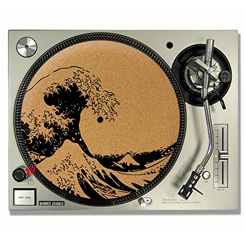 The Great Wave off Kanagawa Hokusai Kork DJ Slipmats/Turntable Slipmats–VINYL