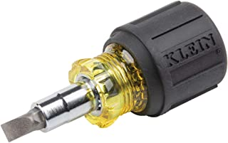 Klein Tools 32561 Multi-Bit Screwdriver / Nut Driver, 6-in-1 Stubby Screwdriver with 2 Phillips, 2 Slotted Bits, 2 Nut Drivers