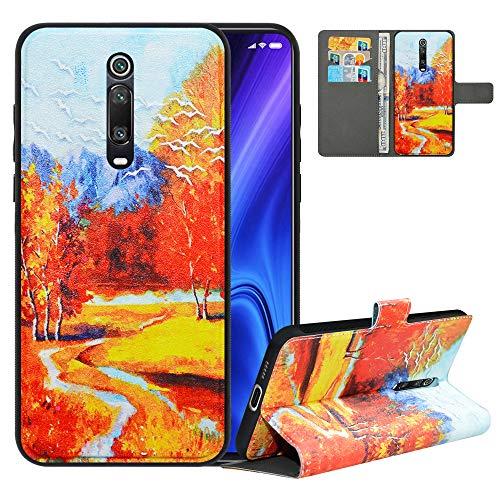 LFDZ Handyhülle für Mi 9T Hülle,Premium 2in1 Abnehmbare PU Ledertasche für Mi 9T Pro Hülle,RFID-Blocker Flip Hülle Tasche Etui Schutzhülle für Redmi K20/Redmi K20 Pro/Pocophone F2/F2 Pro,Autumn