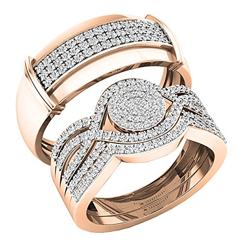Dazzlingrock Collection 0.65 Carat (ctw) Round White Diamond Men's and Women's Engagement Ring Trio Set, 14K Rose Gold