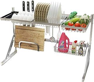 JPL Étagère de rangement de cuisine domestique, support de plat, sur le support de séchage de plat d'évier, 304 égouttoir ...
