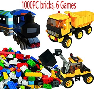 dreambuilderToy Creative Building Brick Set, 1000 Pieces Building Bricks, 6 Fun Games, Train, Bulldozer, Truck, Wind-Miller etc Compatible to Most Brands(1000 PC Fun Game Set)