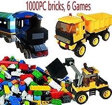dreambuilderToy Creative Building Brick Set, 1000 Pieces Building Bricks, 6 Fun Games, Train, Bulldozer, Truck, Wind-Miller etc Compatible to Most Brands(1000 PC Fun Game Set)