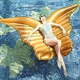Hinchable Colchonetas Mariposa Gigante Alas De ángel Inflable Piscina De Aire Blanco Tumbona Fiesta De Agua Juguete Montar En El Anillo De Natación 250 * 180 Cm Gold-250 * 180cm