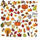 Ringraziamento Adesivo Finestre, 120 Pezzi Foglie Di Acero Adesivi Finestre, Foglie d'Autunno Adesivi Finestra, Utilizzare per Decorazione Della Festa Festa Autunnale Decorazione Della Festa Halloween