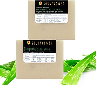 Handmade Aloe Vera Soap by Soulflower with Vitamin E, Aloe Vera Juice for Skin Glow, Pimples, Acne, Dry Skin - 100% Pure, ...