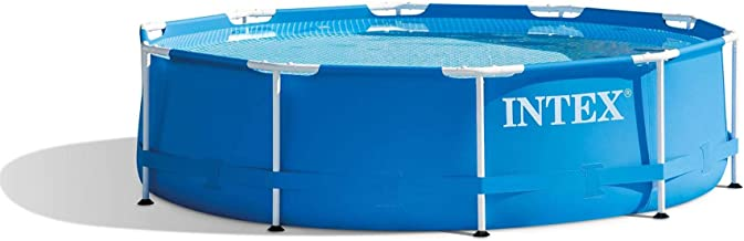 Intex 10 Foot x 30 Inch Round Metal Frame Backyard Above Ground Swimming Pool