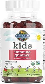 Garden of Life Kids Immune Gummy, Cherry Flavor - Vitamin C, D & Zinc Gummies for Immune Support - Sugar Free, Organic Imm...