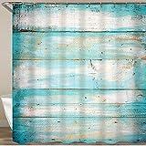 NISENASU Rideau de Douche avec 12 Crochets,Bois de Plage Vintage,Large Choix de Beaux Rideaux de Douche,de Haute qualité,imperméable 180 * 180 cm