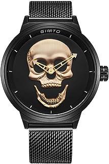 Creative Men's Skull Watch Cool Vintage Boy Quartz Wristwatch Stainless Steel Mesh Strap