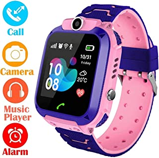 AMERTEER Kids Smart Watch Phone, Kids LBS Tracker Watch with SOS Anti-Lost Alarm Sim Card Slot Touch Screen Smartwatch for 3-12 Year Old Children Girls Boys (Pink)