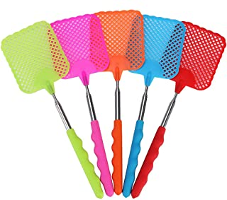 TXIN 5 Pieces Extendable Plastic Fly Swatter Metal Handle, Swat Flies Mosquito Tool Manual Fly Swatters with Telescopic Lo...