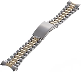 Republic Mens Curved End Two-Tone Watch Band, Silver/Gold, Size 20 mm