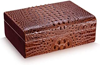 LIFANGAU Cigar Box, Natural Cedar Wood Cow Leather Crocodile Skin Cigar Humidor, Built-in Hygrometer Humidifier, Dual Zone Storage (Color : Brown)