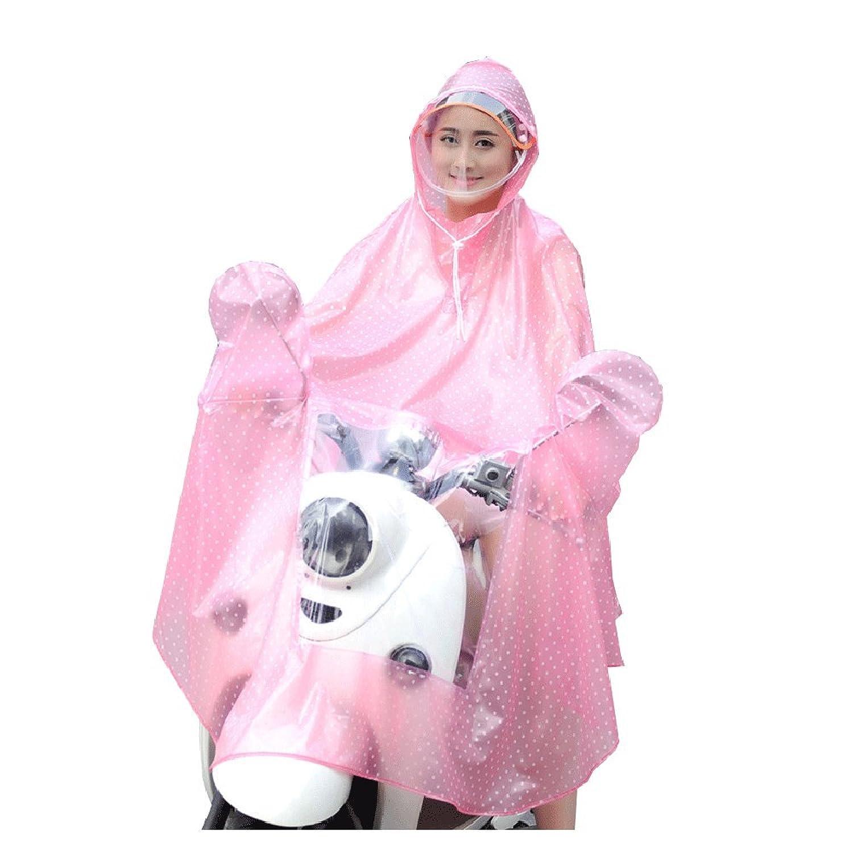 ピンク 電気自動車 レインコート 大人 通気性のある 大きな帽子 ポンチョ (サイズ : XXXL)