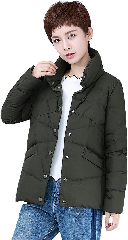Women lightweight down jacket thicker short coats stand collar button warm outwear