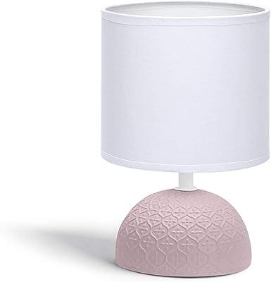 Lampe de Chevet, Lampe en Céramique, Semi-ovale Rose, Corps au Design Rose Simple, Abat-jour en Tissu Blanc, Douille E14 (ampoule non fournie) H24cm