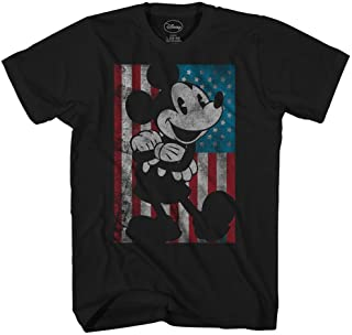 Disney Mickey Mouse American Flag Classic Vintage Retro Distressed America Patriotic Adult Tee Graphic T-Shirt for Men Tshirt