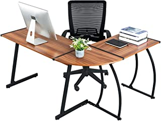 GreenForest L Shaped Corner Desk for Home Office Computer PC Table Workstation 3-Piece for Gaming and Studying,Bright Walnut