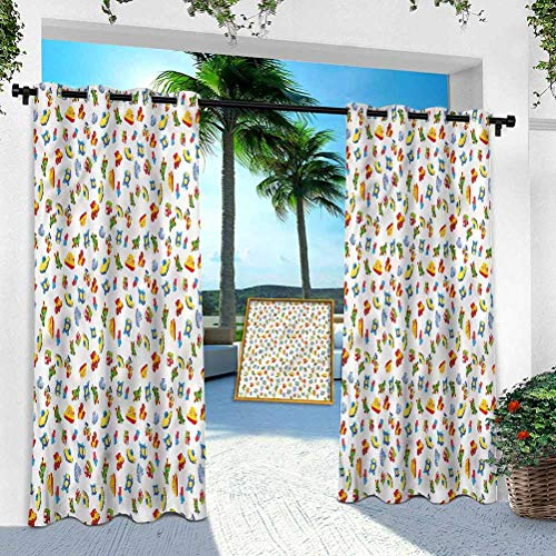 Aishare Store Pergola Outdoor Curtain Panel, Boys Room,Baby Nursery Icon Design, W 100' x L 95' Rustproof Extra Wide Grommet Top Indoor Outdoor Drape(1 Panel)