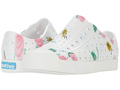 Native Kids Shoes Jefferson Print (Little Kid) (Shell White/Shell White/Bees and Flowers) Girls Shoes